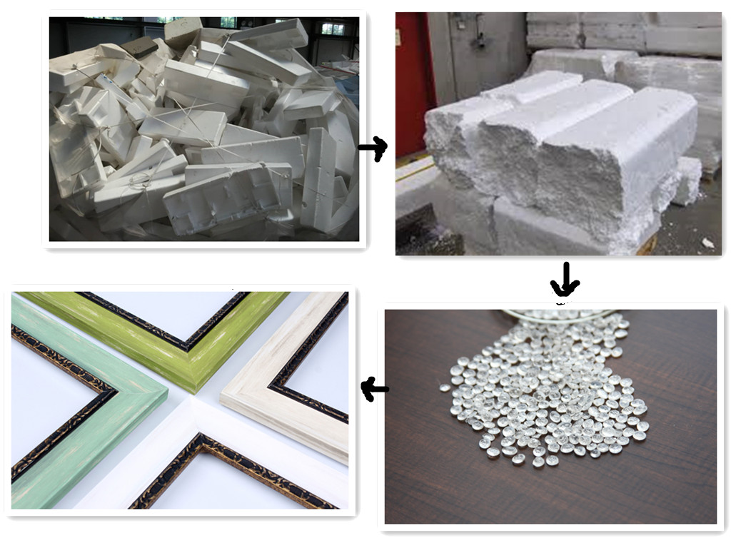 recyclable styrofoam tiles Cabinets for trash disposal, doors for trash disposal (non-metal), drywall, fiberglass and cellulose insulation, linoleum flooring for trash disposal, lumber for trash disposal, plywood for trash disposal, pvc pipes, sheetrock, sinks for trash disposal, tile for trash disposal, toilets for trash disposal, wooden boards for trash disposal.